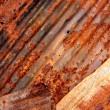 Rusty corrugated metal plates — Stock Photo