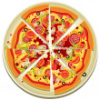 Pizza Slices on the Plate - Stock Vector