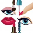 Make-up Set - Stock Vector