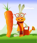 Happy Rabbit and Giant Carrot — Stock Vector