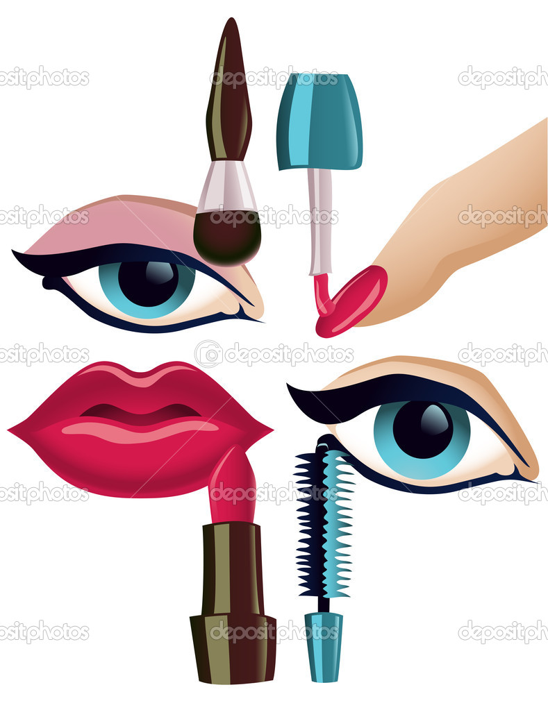 Vector collection of four basic make-up items — Stock Vector #5756745