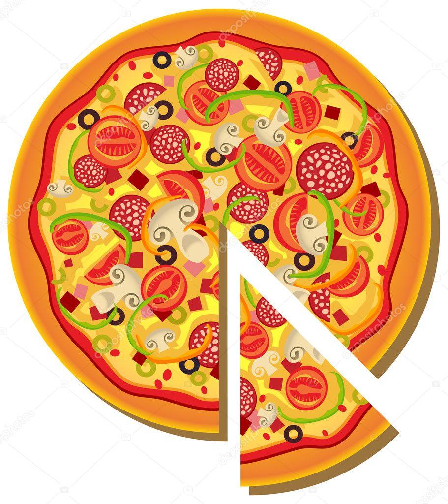 Пицца картинки нарисованная 8
