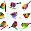 Collection of Colorful Birds - Stock Vector