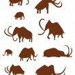 Cave Drawings of Ancient Mammoths — Stock Vector