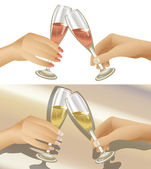 Clinking Champagne Glasses — Stock Vector
