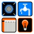 Public Utilities Icon Set — Stockvectorbeeld