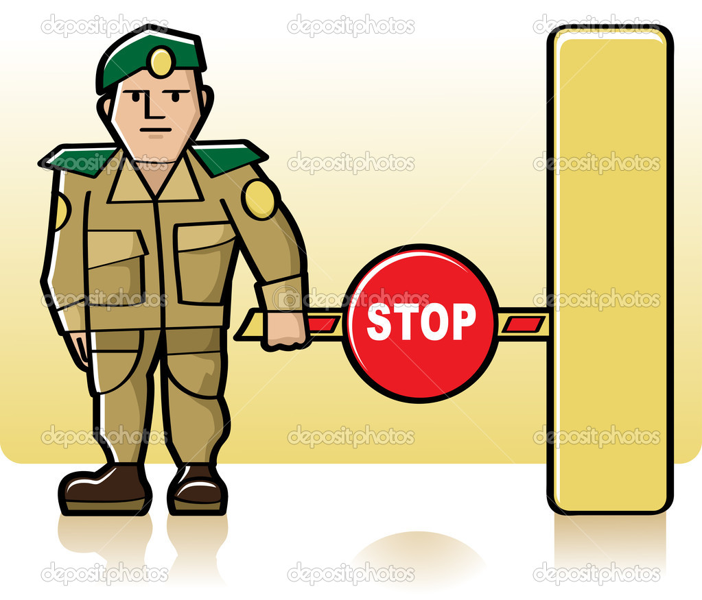 Customs officer standing next to the closed barrier — Stock Vector #5993915