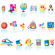 School Supplies Icon Set - Stock Vector