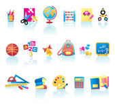 School Supplies Icon Set — Stock Vector