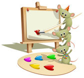 Funny Mice Teaching How to Paint — Stock Vector