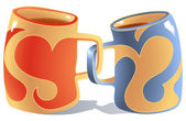 Mugs in Love — Stockvector