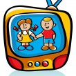 Stock Vector: Kids On TV