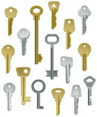Collection of Keys Set One — Stock Vector