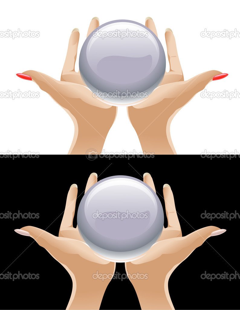 Hands holding a crystal ball — Stock Vector #6069945