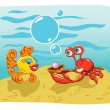 Stock Vector: Fish and Crab