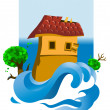 Stock Vector: Flooded House
