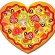 Stock Vector: Heart Shaped Pizza