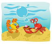 Fish and Crab — Stock Vector