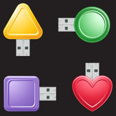 USB Flash Drive Shapes — Stock Vector