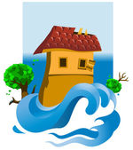 Flooded House — Stock Vector