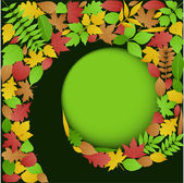 Autumn Leaves Spiral Background — Stock Vector