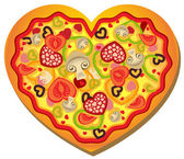 Heart Shaped Pizza — Stock Vector