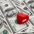 Royalty-Free Stock Photo: Red Heart and Hundred Dollar Bills