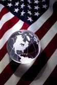 Globe and USA Flag — Stock Photo