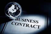 Globe and Business Contract — Stock Photo