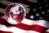 Globe and USA Flag — Stock Photo