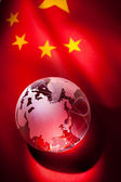 Globe and China Flag — Stock Photo