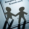 Employment Contract and Paper Chain Men — Stock Photo