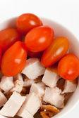 Shredded Turkey meat and tomato — Stock Photo