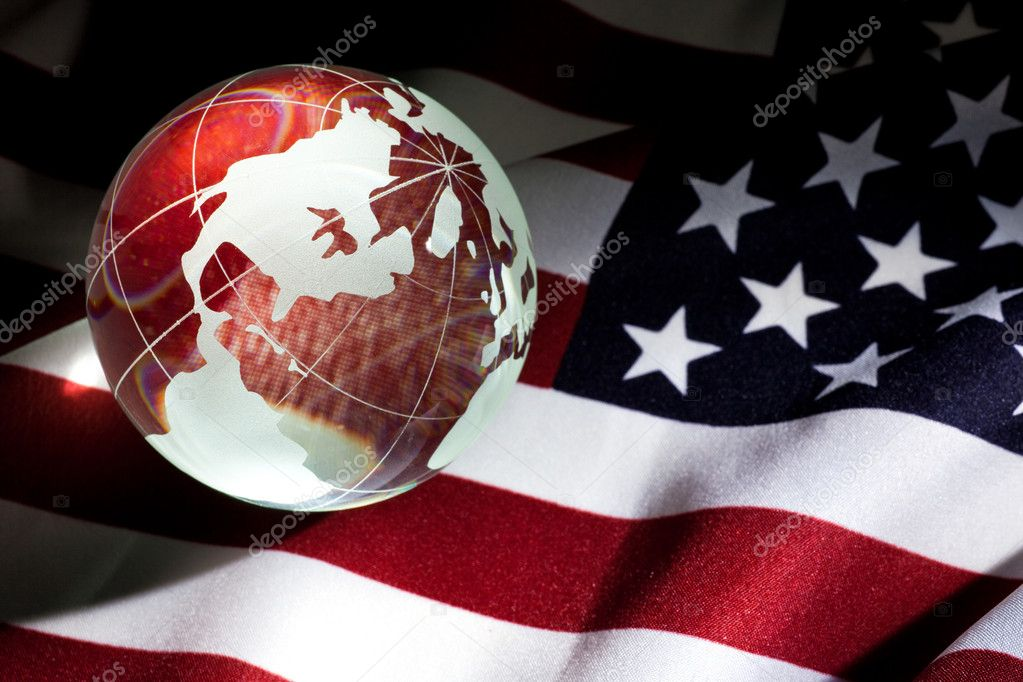 Globe and USA Flag for background — Stock Photo #5774764