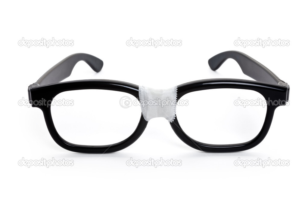 Black nerd Glasses with white background — Photo #5776921