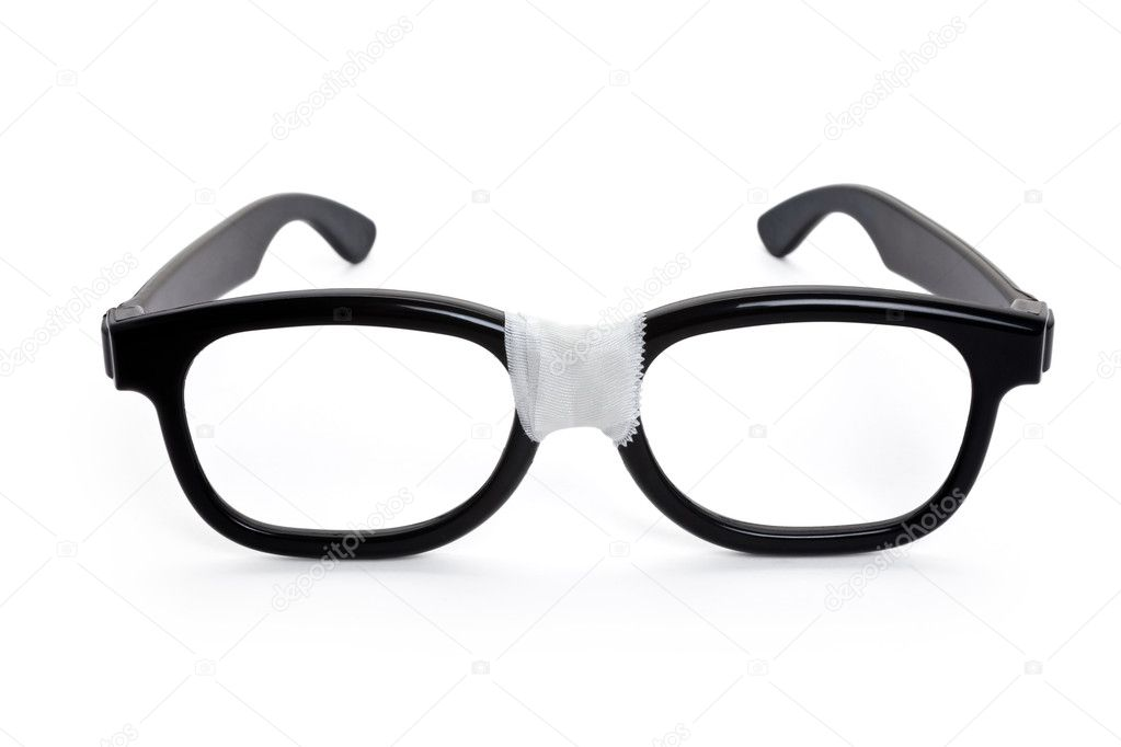 Black nerd Glasses with white background  Stok fotoraf #5776921
