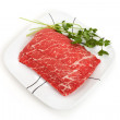 Beef slices cooked in hot pot — Stock Photo