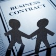 Business Contract and Paper Chain Men — Stock Photo #5921933