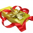 Gift box with red ribbon. - Stock Photo