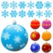 Snowflakes and christmas balls. — ベクター素材ストック