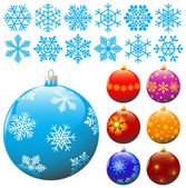 Snowflakes and christmas balls. — Stock Vector