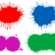 Various blobs of multicoloured ink. - Stock Vector