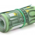 Постер, плакат: Roll of one hundred euro banknotes
