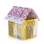 House made of euro banknotes. — Stock Photo