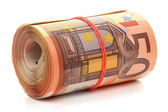 Roll of fifty euro banknotes. — Stock Photo
