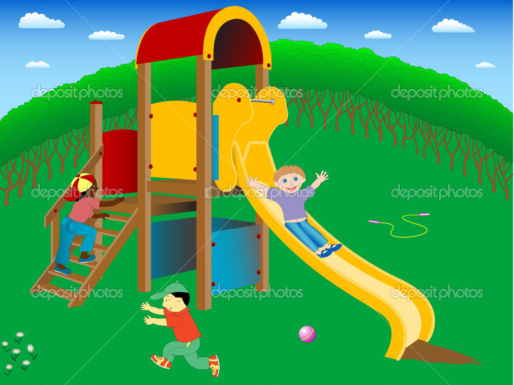 Three children of different races playing happily on the playground.Concept of interracial friendship. — Stock Vector #5793486