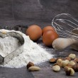 Egg and flour for baking cookies - Stock Photo