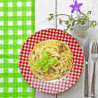 Spaghetti al Pesto — Stock Photo