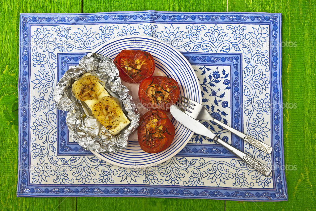 Baked feta cheese with baked tomatoes — Stock Photo #5874456