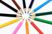 Crayons stack circle on a white background — Stock Photo